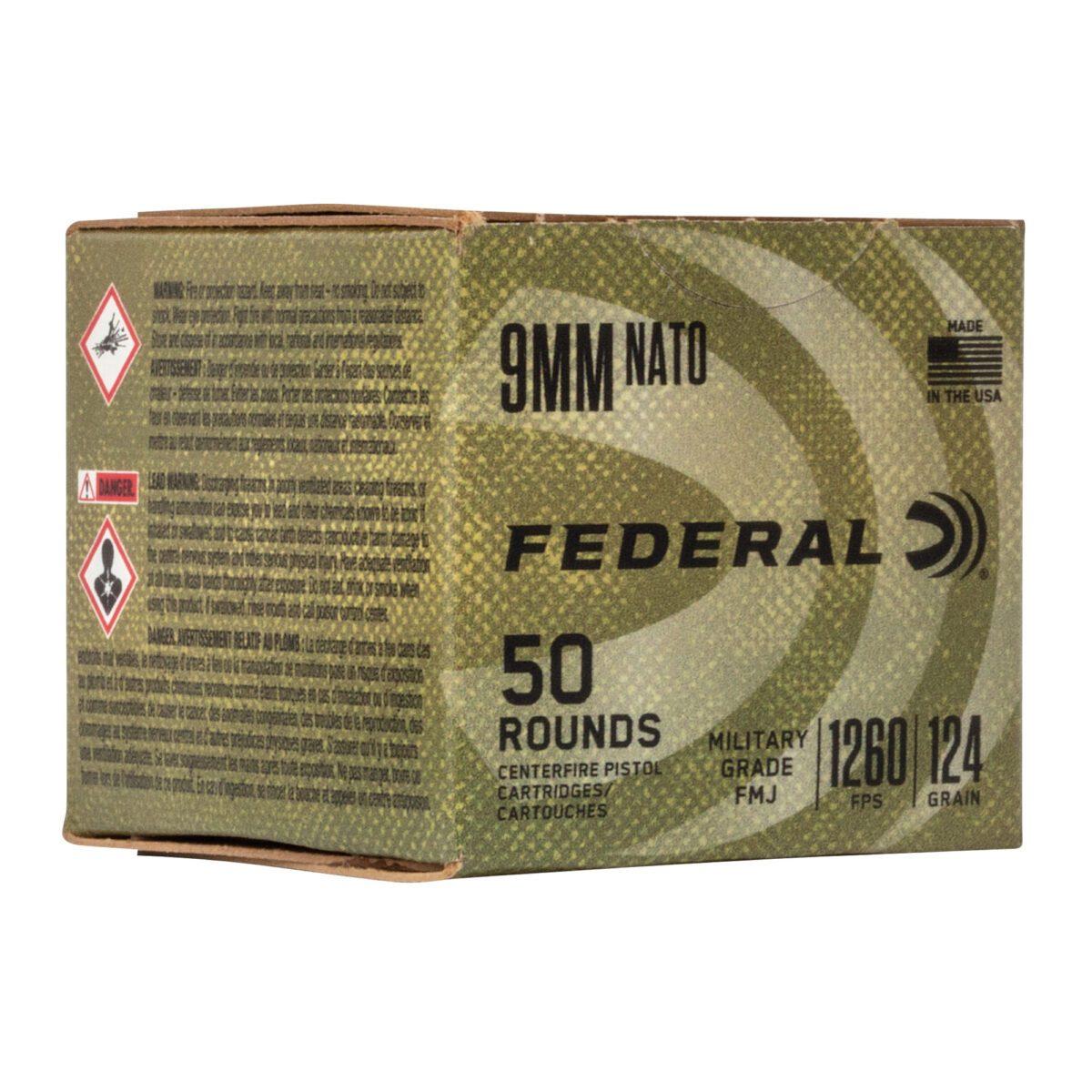 federal military grade 9mm ammo box